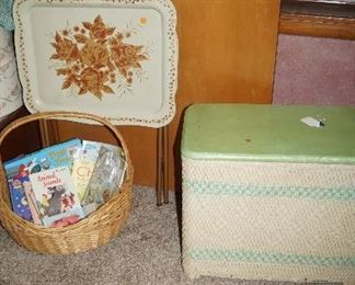 hamper, kids books, tv tray