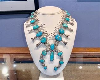 Navajo turquoise and silver Squash Blossom necklace purchased in 1970s at Navajo reservation in Arizona