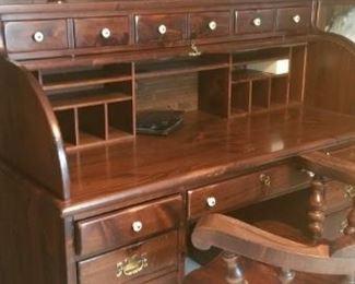 Antique wood desk with key