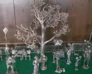 staged pewter pieces
