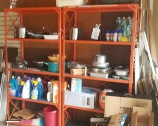 garage tools, cleaners, misc and shelving