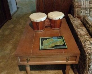 lamp table and set of bongos