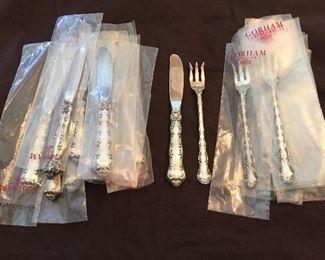 "Gorham sterling ""Strasbourg "" pattern oyster forks and butter spreaders. 12 of each"