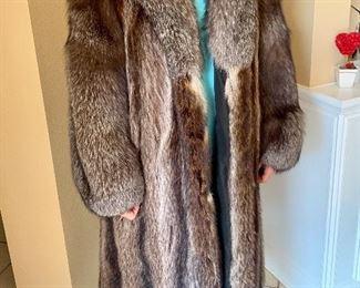 Beautiful beaver and fox fur coat