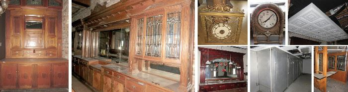 Bars, Clocks, Restaurant Equipment, Ceiling Fixtures, Cabinets.