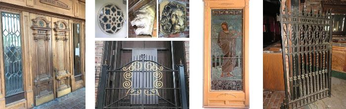 Museum Quality Doors, Stained Glass Windows, Iron Gates, Lion Heads, Decor.
