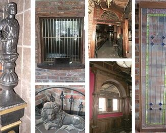 Statues, Lion Statue and Wrought Iron Gate, Ticket Window, Archway's, Stained Glass Window.