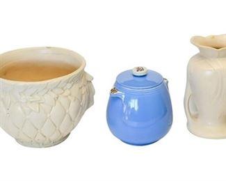 2. Lot Three 3 Vintage Ceramic Vases  Condiment Jar wLid