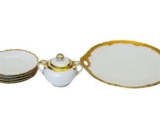 5. Group Lot Ceramic Dinner Plates Platter wSugar Bowl Gold Decoration