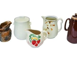 3. Mixed Lot Vintage Water Pitchers Cookie Jar HULLHALLWOOD ENGLAND