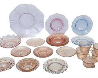 6. Mixed Lot Vintage American Depression Glass Serving Pieces
