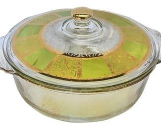8. Retro 60s Mid Century Green  Gold Casserole Dish wLid