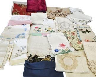 10. Group Lot Vintage Embroidered Linens Tablewares