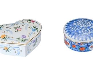 11. Nice Tiffany Co. Porcelain Vanity Trinket Box wHeart Shaped Box