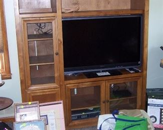 ENTERTAINMENT CENTER AND 46 INCH SONY FLAT SCREEN TV