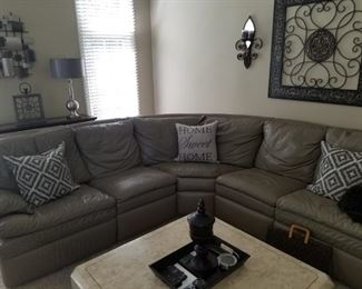 L shaped leather sofa