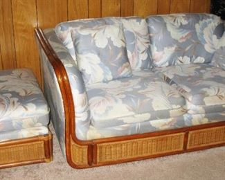 Bassett wicker frame love seat and ottoman                                 BUY IT NOW $ 75.00 AND $ 30.00
