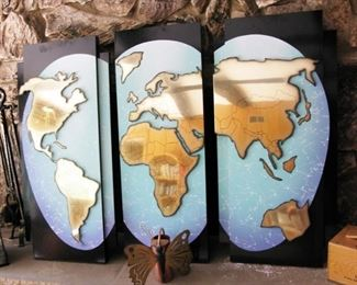Large 3 panel world wall hanging                                                           BUY IT NOW $ 145.00