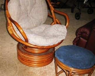 Wicker swivel chair and ottoman                                                        BUY IT NOW $ 65.00 AND $ 15.00
