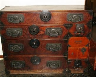 Antique Asian Oriental cabinet with small drawer set behind one door  BEAUTIFUL PIECE                                                 BUY IT NOW  $ 485.00