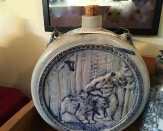 Rare antique ceramic canteen jug