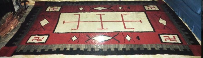 """Beautiful, antique Navajo rug that was appraised on the PBS """"Antiques Roadshow"""" Nov. 5, 2001. 6'7"""" x 9'7."""" Approx. woven between 1890 and 1910.  Very good condition. Was in the family since great-great-aunt nursed a woman in Albuquerque, NM. The appreciative woman gave the rug to the great-great-aunt. It was stored safely most of the intervening years."""
