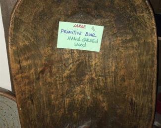 Large hand-carved wooden primitive dough bowl