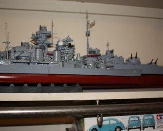 One of several model ships