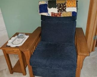 Mission style arm chair and side table
