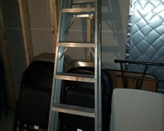 Aluminum ladder; folding tables and chairs