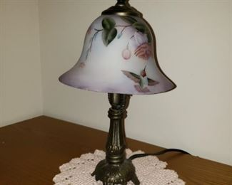 Repo antique reverse hand painted lamp