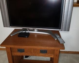 Sharp TV; mission style table