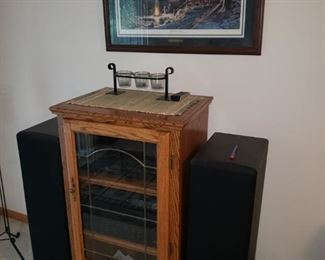 """Stereo cabinet with Pioneer and Yamaha components; Terry Redlin framed print """"Sharing the Evening"""""""