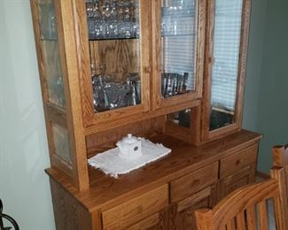 Mission style China cabinet; crystal dishes