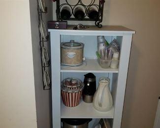 Wood white shelf, misc kitchen items