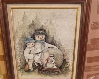 Cute winter canvas framed print