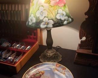 Antique lamp,  plates, silverware