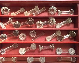 Collection of cut crystal knife rests, including Imperial, Cambridge, Western German and much more.