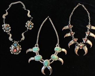 Vintage 1960s-70s Bear Claw Sterling Squash Blossom Necklaces (NOT ON SITE TILL DAY OF SALE)
