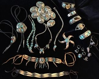 Beautiful assortment of vintage 1960s-70s-80s Sterling Navajo Jewelry - NOT ON SITE TILL DAY OF SALE
