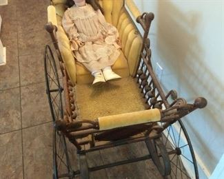 Pram With Antique German Doll