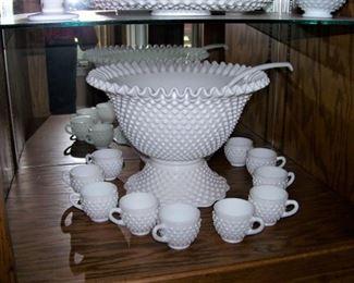 Wonderful milk glass punch bowl, cups