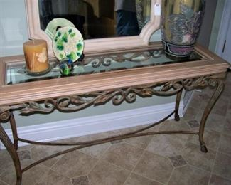 Iron, wood and glass console table
