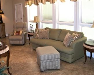 Sofa, tables, console tables