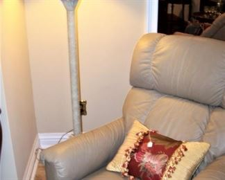Leather recliner, one of a pair