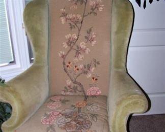 Needlepoint/velvet wing chair