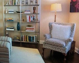 Upholstered armchair and shelving unit from Room and Board