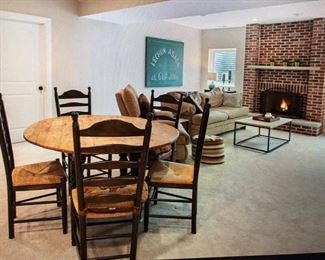 Kitchen table and chairs, couch and coffee table
