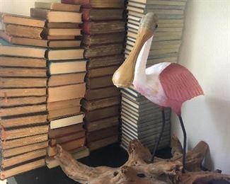Museum Model of a Roseate Spoonbill, antique books