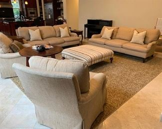 2 sofas 2 Chairs Ottoman custom Made, Rug all for sale!